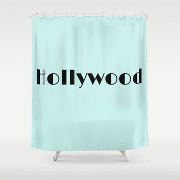 Mint Green Hollywood Shower Curtain Bathroom Decor California Los Angeles Art Downtown Loft