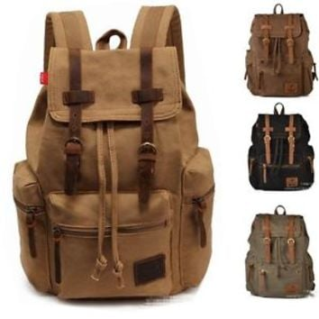 Jeansian Men Canvas Leather Belt School Book Bag Satchel Rucksack BackPack BG001
