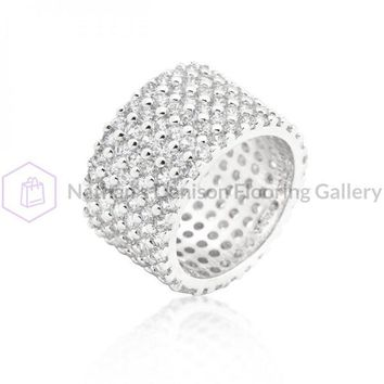 Silvertone Finishd Wide Pave Cubic Zirconia Ring (size: 06) R08322R-C01-06