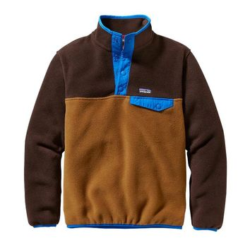Patagonia Boys' Lightweight Synchilla® Snap-T Fleece Pullover | Bear Brown