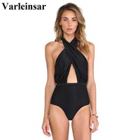 DCCKF4S 2017 Black Sexy cross wrap halter neck swimsuit high waist one piece swimwear women female bathing suit swim wear monokini V31