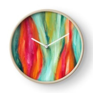 'Liberation | Abstract Painting' Clock by Maria Meester