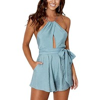 Halter Crop Sexy Women Playsuits Beach Backless Jumpsuits Overalls Sleeveless Rompers