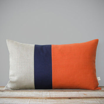 Orange Colorblock Pillow Cover with Navy and Natural Linen Stripes by JillianReneDecor (12x20) Modern Home Decor - Stripe Trio Pumpkin Koi