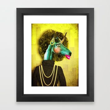 Glamour Unicorn Framed Art Print by That's So Unicorny
