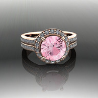 Pink Topaz and Diamond Engagement Ring 2.58 CTW