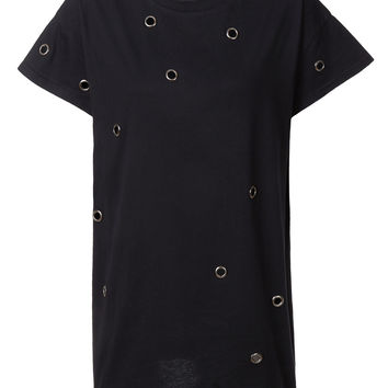 LE3NO Womens Boxy Embellished Hardware Design Short Sleeve Tunic T Shirt