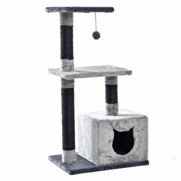 Cat Tree House Furniture with Swinging Ball and Scratching Posts (Gray)