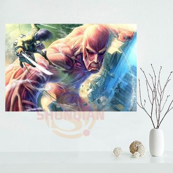 Cool Attack on Titan  Poster Custom Satin poster print cloth fabric wall poster print Silk Fabric Print AT_90_11