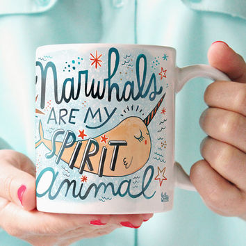 Unicorn Narwhal Mug Unicorn Mug Spirit Animal Mug I Love Narwhals I Love Unicorns Unicorn Of The Sea Narwhal Gift Animal Totem Mug