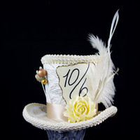 Ivory and Cream Mad Hatter Mini Top Hat Fascinator, Alice in Wonderland, Tea Party, Derby Hat, Victorian, Feather and Resin Flower