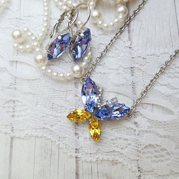 Beautiful Butterfly Pendant, Swarovski, Navettes, Summer Jewelry, DKSJewelrydesigns, FREE SHIPPING