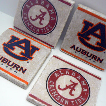 Alabama and Auburn House Divided Coasters Crimson Roll Tide Tiger Tigers Football Logo Team Spirit Natural Stone Tile Drink Coaster Set of 4