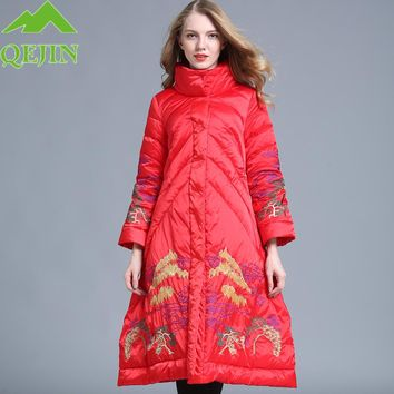 2017 winter women long coat parkas female warm duck down jackets thick coats lady fashion mountain embroidered A-line outwears
