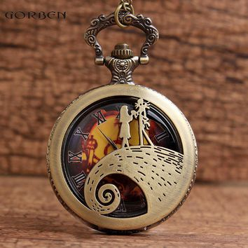 Jack & Sally The Nightmare Before Christmas Pocket Watches Fob Necklace Chain Hollow Orange Dial Steampunk Bronze Pocket Watches