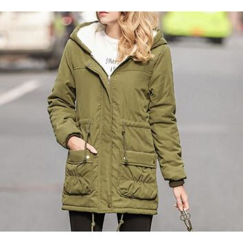 Womens Army Green Hooded Parka Coat