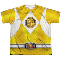 POWER RANGERS/YELLOW RANGER EMBLEM-S/S YOUTH POLY CREW-WHITE
