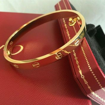 One-nice? New Authentic@@ Cartier 18K Yellow Gold LOVE Bangle Bracelet Size 19 Authent