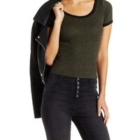 Marled & Ribbed Ringer Tee by Charlotte Russe