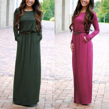 Women's O Neck Casual Maxi Dress Long Sleeve Sexy Club Dresses Party Solid Dress Vestidos With Belt Autumn Clothings LX222