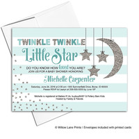 Twinkle Twinkle Little Star Baby Shower Invitations - Neutral Baby Shower Invite - Stripes - Baby Carriage - Printable or Printed - WLP00759
