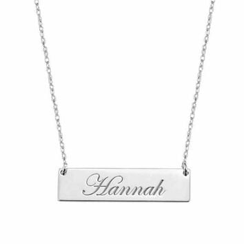 Monogrammed Sterling Silver Engraved bar necklace- SALE