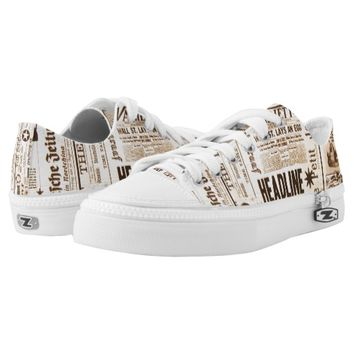 Headline Text Vintage Newspaper Typography Funny Low-Top Sneakers