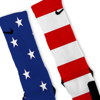 All American USA Flag Patriotic Custom Nike Elite Socks