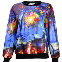 ZLYC Women Girls Fashion Art Oil Painting Print Novelty Sweatshirt Pullover Top