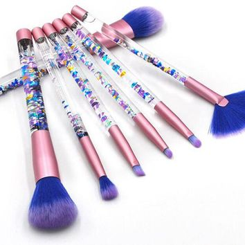 Glitter Crystal Makeup Brush Set 7pcs Diamond Professional Highlighter Brushes Concealer Make Up Brush Kwasten Set Mermaid Brush
