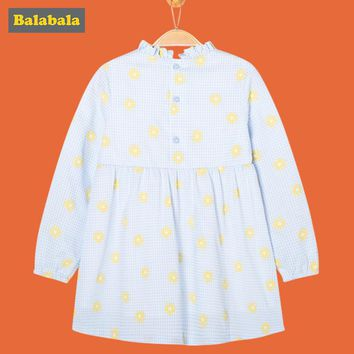 balabala Girl Dress 2018 100% cotton Casual toddler children spring Clothes breathable soft Long Sleeve Dresses for girls