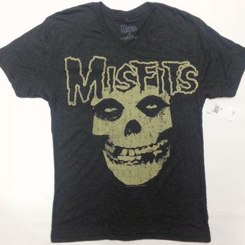 Misfits VINTAGE SKULL V-Neck T-Shirt Heather Black NWT Licensed & Official RARE!