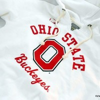 New Womens Ohio State Hoodie Sweatshirt Buckeyes Apparel Rustic Vintage Look (XXL)
