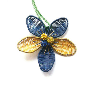 Flower Necklace, Wire Wrapped Blue Yellow Flower Pendant, Beads And Wire Jewelry, Wire Wrapped Jewelry, Unique Gift Ideas, Gift For Her OOAK