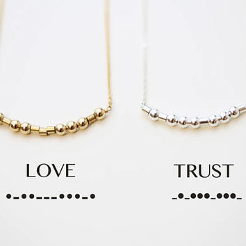 Morse code necklace // Personalized Secret code necklace // custom jewelry- Sisters, Graduation, Bridesmaid personalized gifts for her