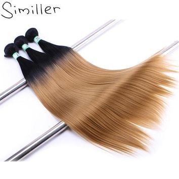 LMF78W Similler Two Tones Ombre Color Synthetic Hair Welf Black T 27 High Tempureture Fiber Bundles Weaving Extensions 20'