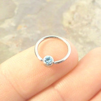 16 Gauge Light Blue Cartilage Hoop Earring Tragus