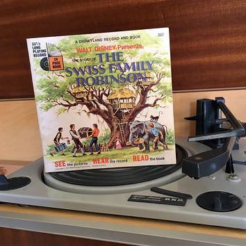 Vintage 1971 The Story of The Swiss Family Robinson by Disneyland Records - Story Book and Vinyl Record / Walt Disney Productions