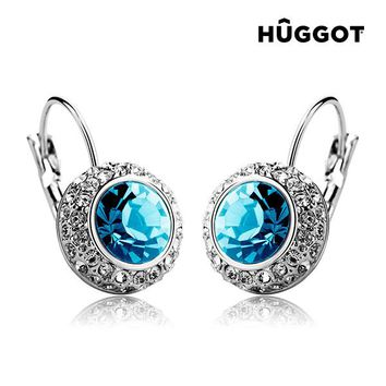 Hûggot Owl Rhodium-Plated Earrings Created with Swarovski®Crystals