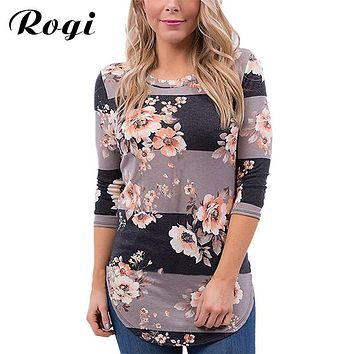 Rogi Women's Blouses 2017 Vintage Floral Print Harajuku Cotton Shirt Long Sleeve Female Loose Jumper Tops Blusas Y Camisas Mujer