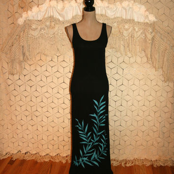 Gauze Maxi Dress Summer Beach Dress Teal Black Sleeveless Long Dress Crinkle Dress Bamboo Leaf Long Summer Dress S Small Womens Clothing