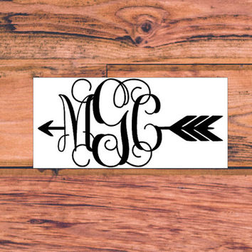 Arrow Monogram Decal | Preppy Arrow Decal | Follow Your Arrow Decal | Arrow Vine Monogram Decal | Southern Arrow Preppy Decal | 354