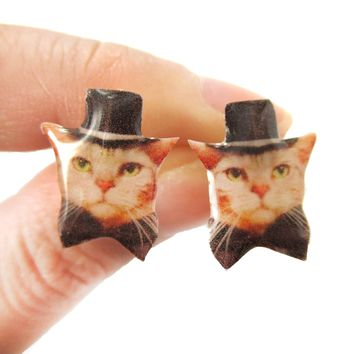 Orange Tabby Kitty Cat in Bow Tie and Top Hat Shaped Animal Resin Stud Earrings