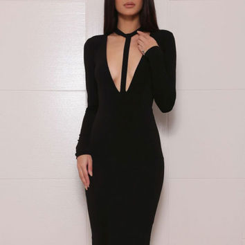 Women Open Front Bandage  Party Bodycon  Dress with Long Sleeve