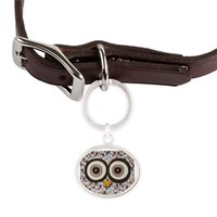 Tweed Owl Large Oval Pet Tag> Erin Brie Art