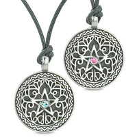 Pentacle Star Celtic Defense Amulets Love Couples or Best Friends Blue Pink Crystals Adjustable Necklaces