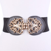 Black Centered Faux Leather High Polish Swirl Accent Spandex Belt