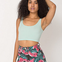 American Apparel - Watermelon Print Stretch Bull Denim High-Waist Cuff Short