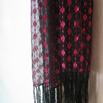 Hot Pink with Sheer Black Fringed Head Wrap/Neck Scarf - Black Sheer Gypsy Scarf - Bohemian Scarf - Femme Fatale/Noir Wrap - Fortune Teller