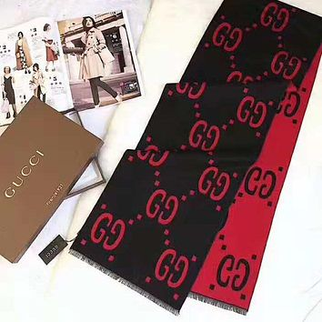 GUCCI Classic Fashionable GG Letter Cashmere Cape Scarf Shawl Scarves Accessories Black/Red